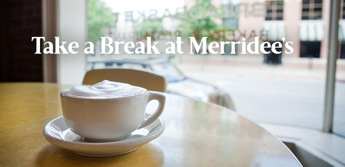 Coffee in front of window at Merridee's